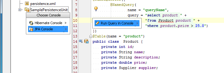 IntelliJ IDEA: JPA Console