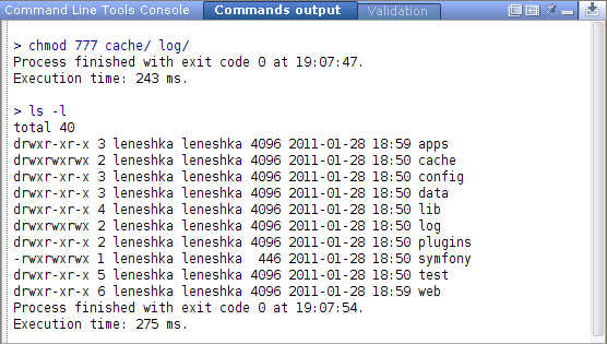 Chmod and ls output in toolwindow