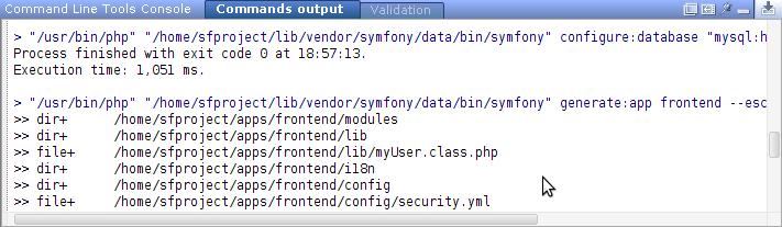Commands output