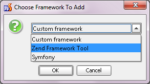 Choose Zend Framework Tool to add