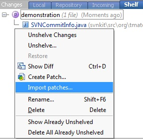 Import action in Shelf context menu