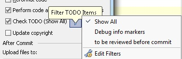 """Check TODO"" before commit handler option in Commit dialog"