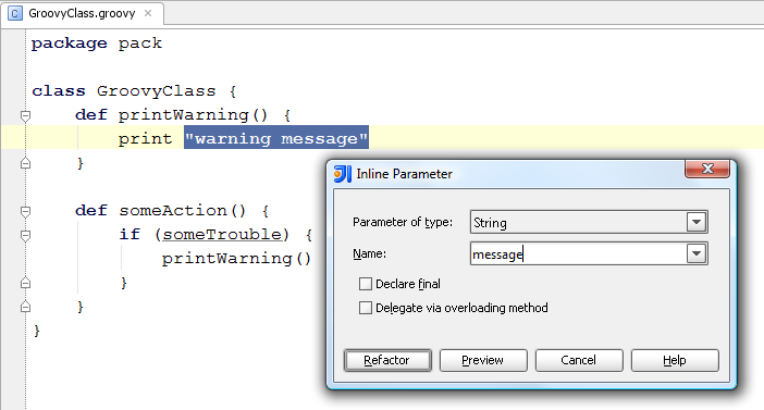 Introduce parameter dialog