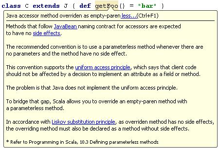 Java accessor method overriden as empty-paren inspection
