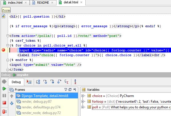 PyCharm: Django template debugger