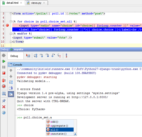Step over and evaluate with debug console