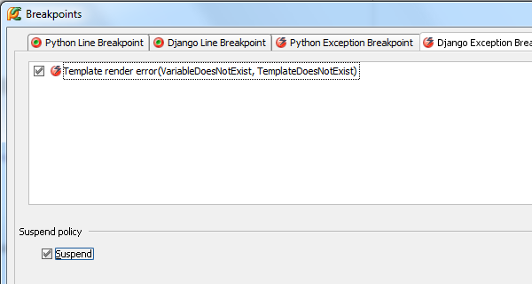 Django template exception breakpoint