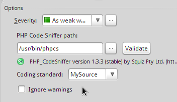 On Success It Displays Obtained Phpcs Version Message And Updates A List Of Coding Standards Standard Combo Box