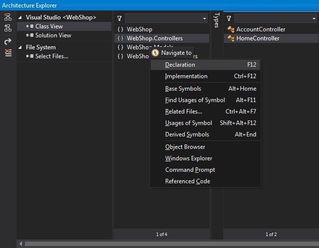 ReSharper commands in Architecture Explorer