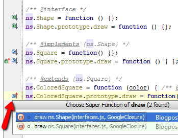 Clicking on gutter icon allows you to jump to overridden function.
