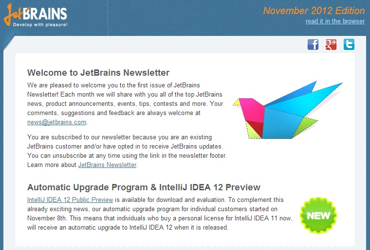 JetBrains Newsletter - November 2012