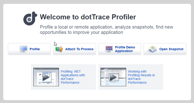 Updated Welcome screen in dotTrace 5.3 Performance