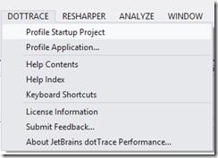 DotTrace Visual Studio 2012 integration
