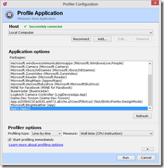 Windows Store application profiler session settings