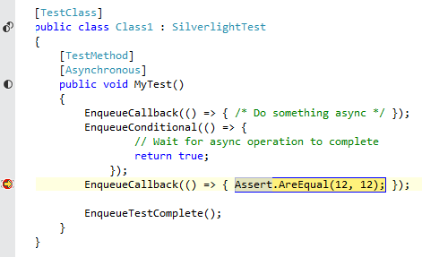AgUnit debugging an asynchronous Silverlight test