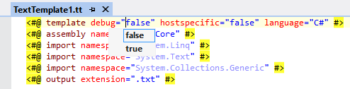 Intellisense displayed in T4 template