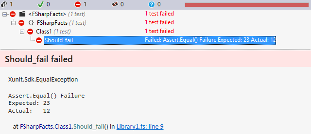 F# test results showing clickable call stack