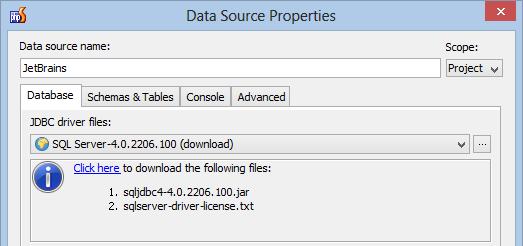 Working with Windows Azure SQL Database in PhpStorm