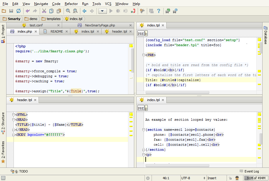 intellij split screen