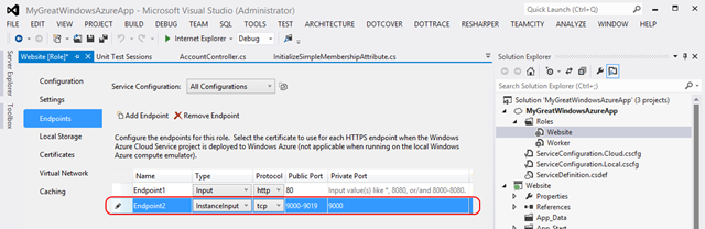 Windows Azure InstanceInput endpoint