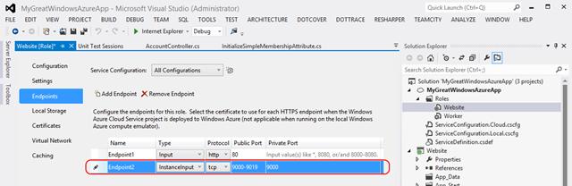Windows Azure InstanceInput endpoint