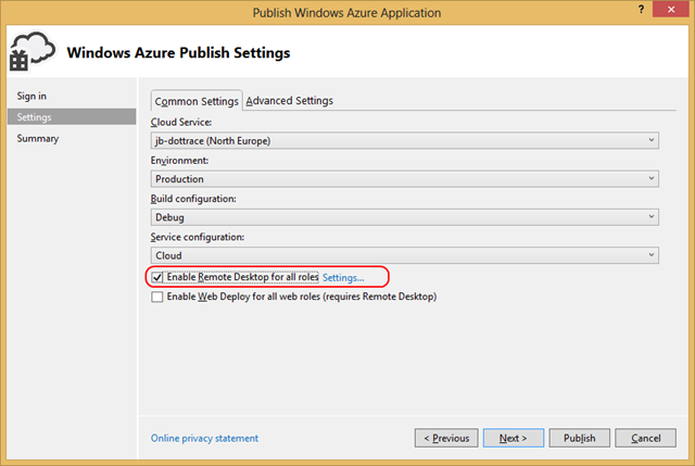 Windows Azure Remote Desktop RDP