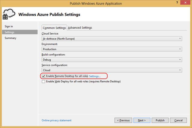 Windows Azure Remote Desktop RDP