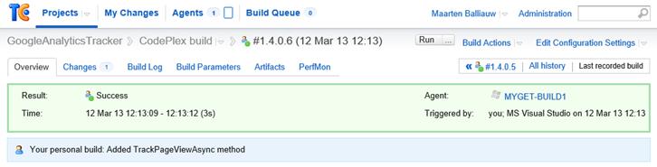 TeamCity web UI personal build