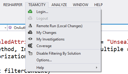 TeamCity plugin for Visual Studio menu entry