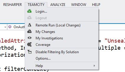 TeamCity plugin for Visual Studio menu entry