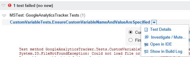 Open test in IDE