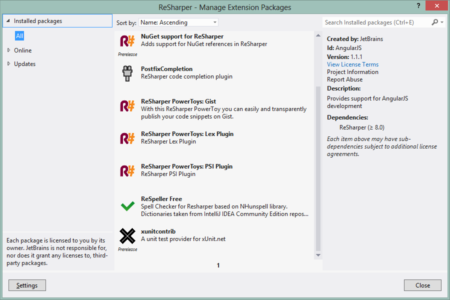 ReSharper Extension Manager window