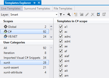 Live Templates imported by the xUnit.net extension