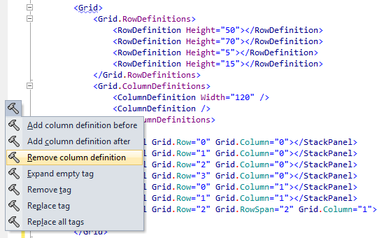 ReSharper can help if you want to add or remove a column definition