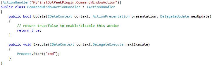 Command line tool window in dotPeek