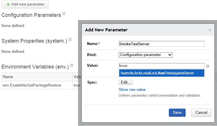 Custom parameter based on shared resource lock value