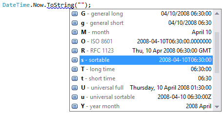 DateTime format completion
