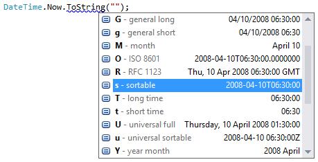 DateTime format completion