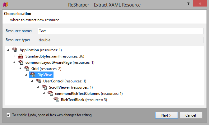ReSharper 8 Extract XAML Resource dialog