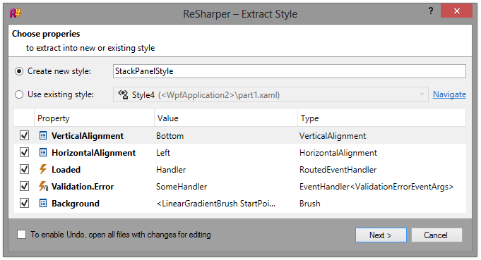 ReSharper 8 Extract Style refactoring dialog