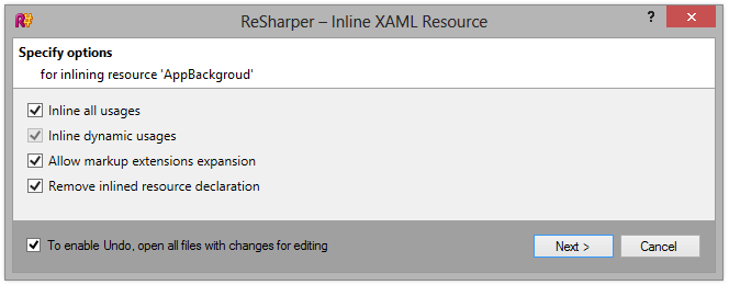 ReSharper 8 Inline Resource options