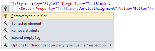 ReSharper 8 XAML remove type qualifier context action