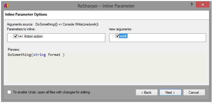 ReSharper 8 Inline Refactoring Inline Parameter Options Dialog