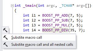 ReSharper's context actions to substitute a single macro call or all nested calls
