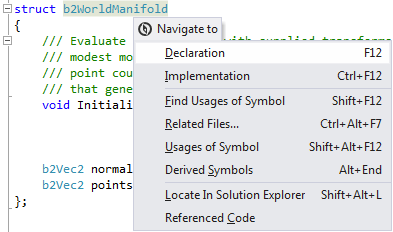 ReSharper's Navigate To options for C++
