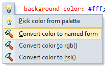 CSS color conversion context actions