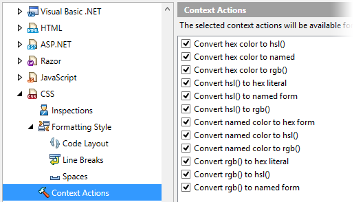 CSS context action settings