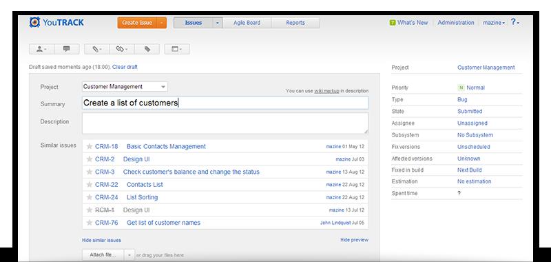 Create Issue Screen