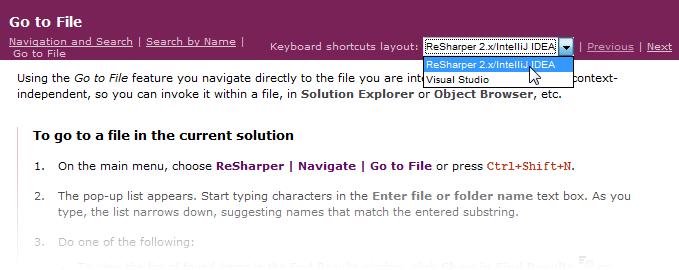 Shortcut scheme selector