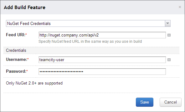 TeamCity package restore from authenticated feed